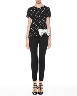 RED Valentino Dotted Bow-Waist Tee and Tech Cady Skinny Pants