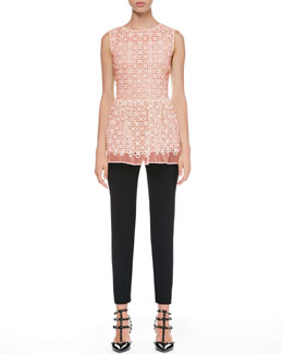 RED Valentino Lace Organza Peplum Top and Tech Cady Skinny Pants