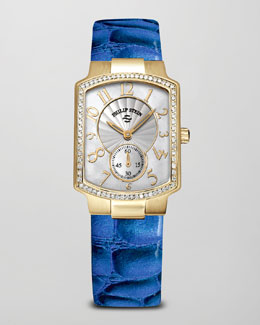 Philip Stein Small Classic Gold-Plated Diamond Watch Head & Alligator-Print Strap