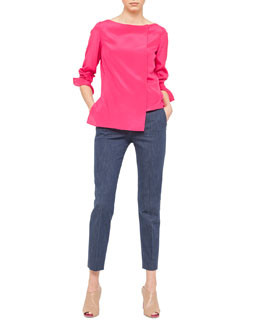 Akris Step-Hem Crepe Tunic and Slim Denim Ankle Pants