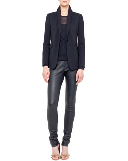 Akris punto Techno-Wool Blazer, Mesh-Top Shirt & Stretch Leather Skinny Pants