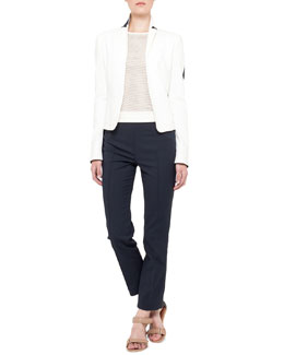 Akris punto Two-Tone Short Jacket and Sleeveless Mesh-Front Top