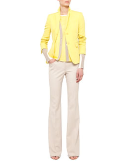 Akris punto Fitted Techno-Wool Blazer, Colorblock V-Neck Cardigan and Split-Hem Tank & Boot-Cut Pants