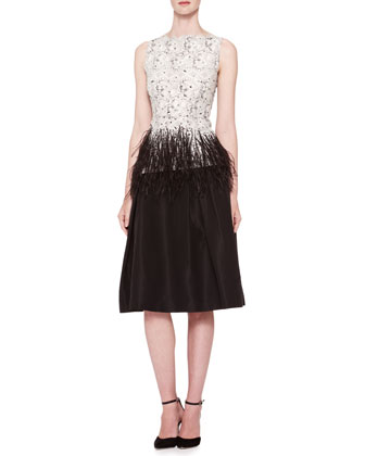 Sleeveless Lace Blouse with Feather Trim & Silk Faille Party Skirt