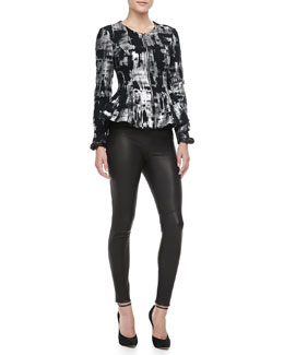 Alexis Fresca Metallic Peplum Jacket & Raven Knit-Waist Leather Leggings