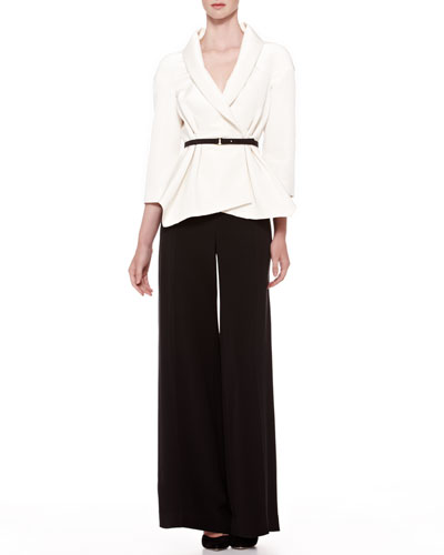 Belted Silk Wrap Blouse & Crepe Wide-Leg Trousers