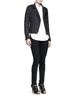 Belstaff Darcy Pleated Studded Blouse and Longston Quilted Moto Jacket