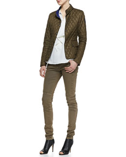 Belstaff Sheffield New Quilted Jacket, Bingley Drape-Front Blouse & Layton Garment-Dyed Jeans