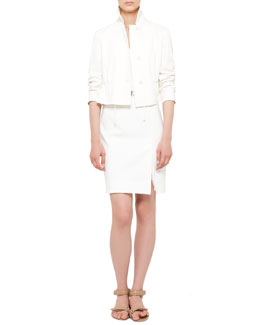 Akris punto Techno-Cotton Short Jacket and Belted Mesh-Back Dress