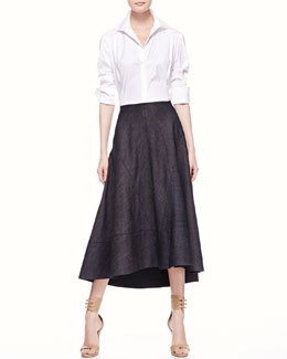 Donna Karan 3/4-Sleeve Poplin Blouse & Long Denim Circle Skirt