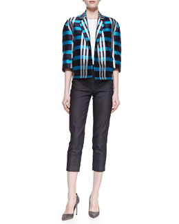 Piazza Sempione Macro Check Madras Cape Jacket, Sleeveless Poplin Top & Dark Denim Capris