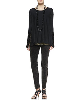 Eileen Fisher Long-Sleeve Jersey Top, Sleeveless Long Shimmery Tank, Bronze Velveteen Skinny Jeans, Links Gloves With Sequins & Merino Links Cap With Sequins