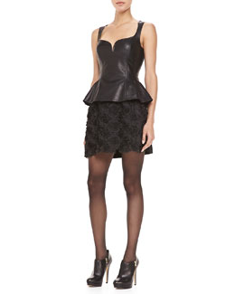 Nanette Lepore Leather Sleeveless Peplum Top & Posey Embellished Short Skirt