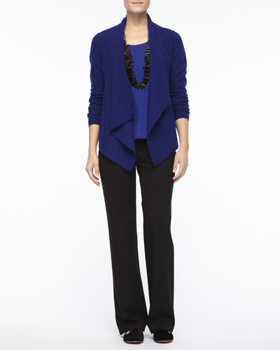 Eileen Fisher Lightweight Boiled Wool Jacket, Silk Jersey Tank, Straight-Leg Ponte Pants, Petite