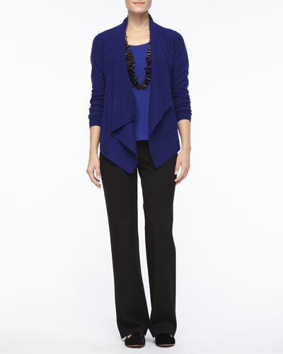 Eileen Fisher Lightweight Boiled Wool Jacket, Silk Jersey Tank, Straight-Leg Ponte Pants, Petite