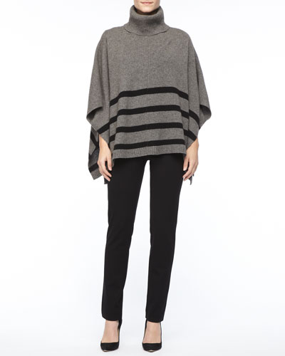 Eileen Fisher Wool Striped Turtleneck  Poncho, Silk Jersey Long-Sleeve Tee & Slim Ponte Pants, Petite