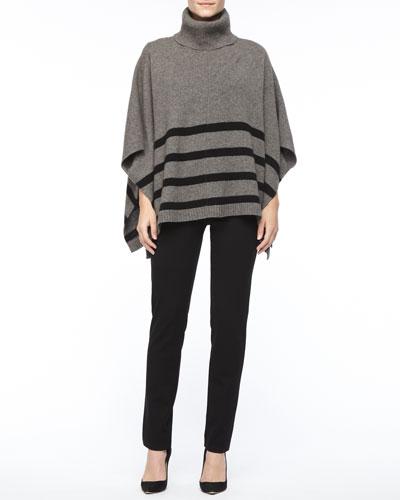 Eileen Fisher Wool Striped Turtleneck  Poncho, Silk Jersey Long-Sleeve Tee & Slim Ponte Pants, Petite