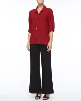 Caroline Rose Crepe Button-Front Shirt & Wide-Leg Jersey Pants, Petite