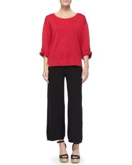 Joan Vass Silk Cashmere Pullover Top & Knit Wide-Leg Pants