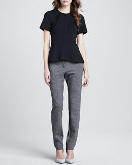 Theory Korla Arch-Hem Blouse & Rowa Tweed Slim Pants