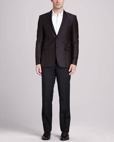 Burberry London Jacquard Two-Button Jacket, Brown, Bib-Front Tuxedo Shirt, White & Slim-Fit Wool Pants, Black