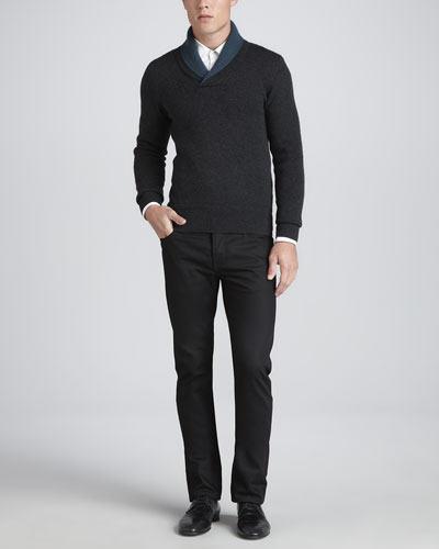 Shawl-Collar Cashmere Sweater, Charcoal & Slim-Fit Wool Pants, Black