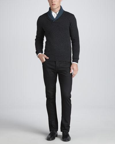 Shawl-Collar Cashmere Sweater, Charcoal & Slim-Fit Wool Pants, Black