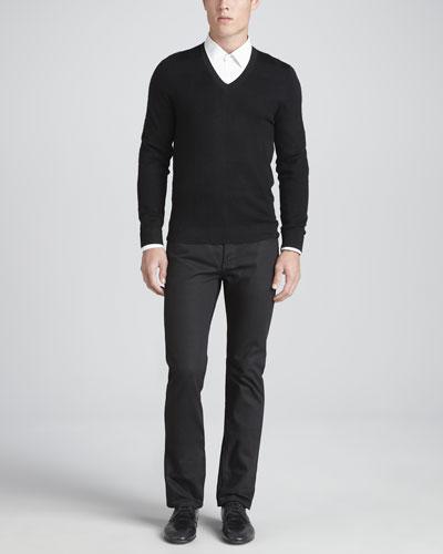 Tonal Check Sweater, Charcoal & Slim-Fit Wool Pants, Black