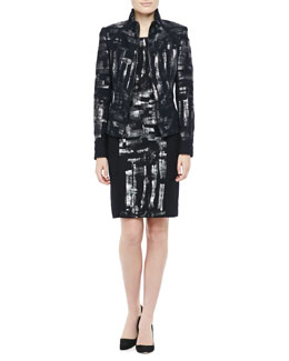 Kay Unger New York Metallic-Detail Jacket & Print Dress