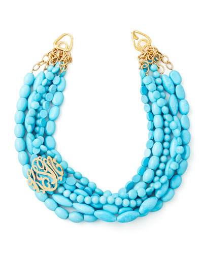 Multi-Strand Turquoise Magnesite Necklace & Gold-Plated Script Monogram Pin