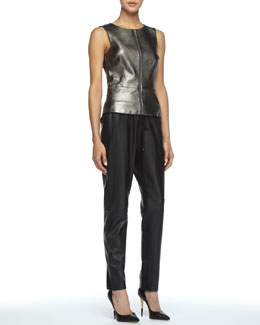 Trina Turk Tatyana Metallic Leather Top & Jady Leather Track Pants