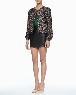 Trina Turk Wendy Lace-Print Jacket, Davian Braid-Trim Racerback Tank & Phaedra Leather Miniskirt