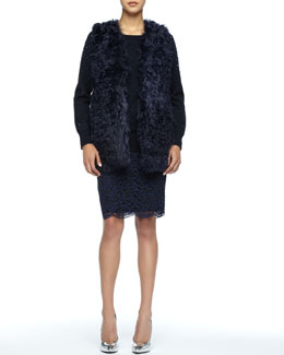 Trina Turk Maisha Fur Vest, Cleopatra Sequined Wool Sweater & Smitty Lace Pencil Skirt