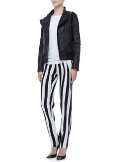 A.L.C. Saari Leather Jacket, Cotton Muscle Tank & Andrew Optic-Stripe Pants