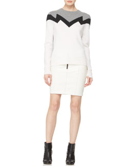 A.L.C. Daniel Zigzag Knit Sweater & Maya Zip Leather Skirt