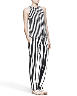 A.L.C. Andrew Optic-Stripe Pants & Laselz Optic-Stripe Top