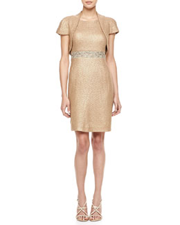 Kay Unger New York Lace Inset Waist Cocktail Dress & Short Sleeve Bolero Jacket
