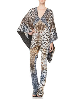Just Cavalli Leopard-Print Caftan & Slightly Flared Pants