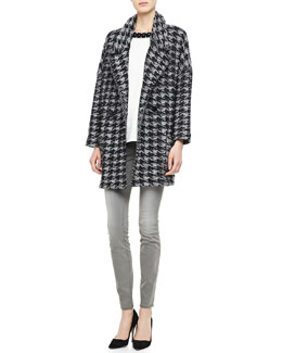 MARC by Marc Jacobs Terence Houndstooth Sweater Jacket, Kisa Contrast-Embroidery Blouse & Stick Faded Skinny Jeans