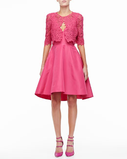 Monique Lhuillier 3/4-Sleeve Lace Bolero & Silk Faille A-Line Party Dress
