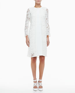Monique Lhuillier 3/4-Sleeve Lace Overcoat  & Crepe with Lace Side Cocktail Dress