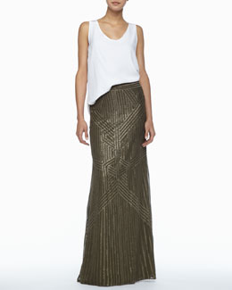 Rachel Zoe Kathleen Scoop-Neck Tank & Sequined Chiffon Maxi Skirt