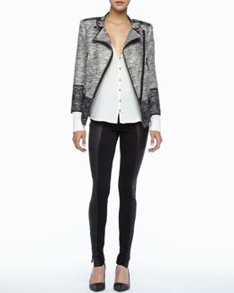 Rachel Zoe Davenport Asymmetric Tweed Jacket, Angie Button-Front Blouse & Trudie Leather-Panel Skinny Pants