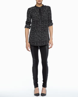 Rachel Zoe Dalton Leather-Trim Top & Trudie Leather-Panel Skinny Pants