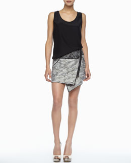 Rachel Zoe Kathleen Scoop-Neck Tank & Bowery Asymmetric Tweed Skirt