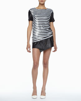 Rachel Zoe Nichols Striped Sequined Top & Bowery Asymmetric Leather Skirt