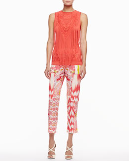 Roberto Cavalli Fringe Knit Top & Mixed-Print Pants