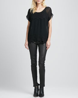 Joie Richael Lace-Detail Top, Coraline Slub-Knit Camisole & Alvarine Stretch Leather Leggings