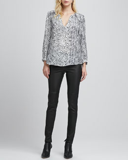 Joie Pearline Mix-Print Top & Alvarine Stretch Leather Leggings