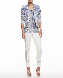 Roberto Cavalli Printed Blazer, Printed Silk Chiffon Racerback Tank & Lace-Trim Leather Leggings